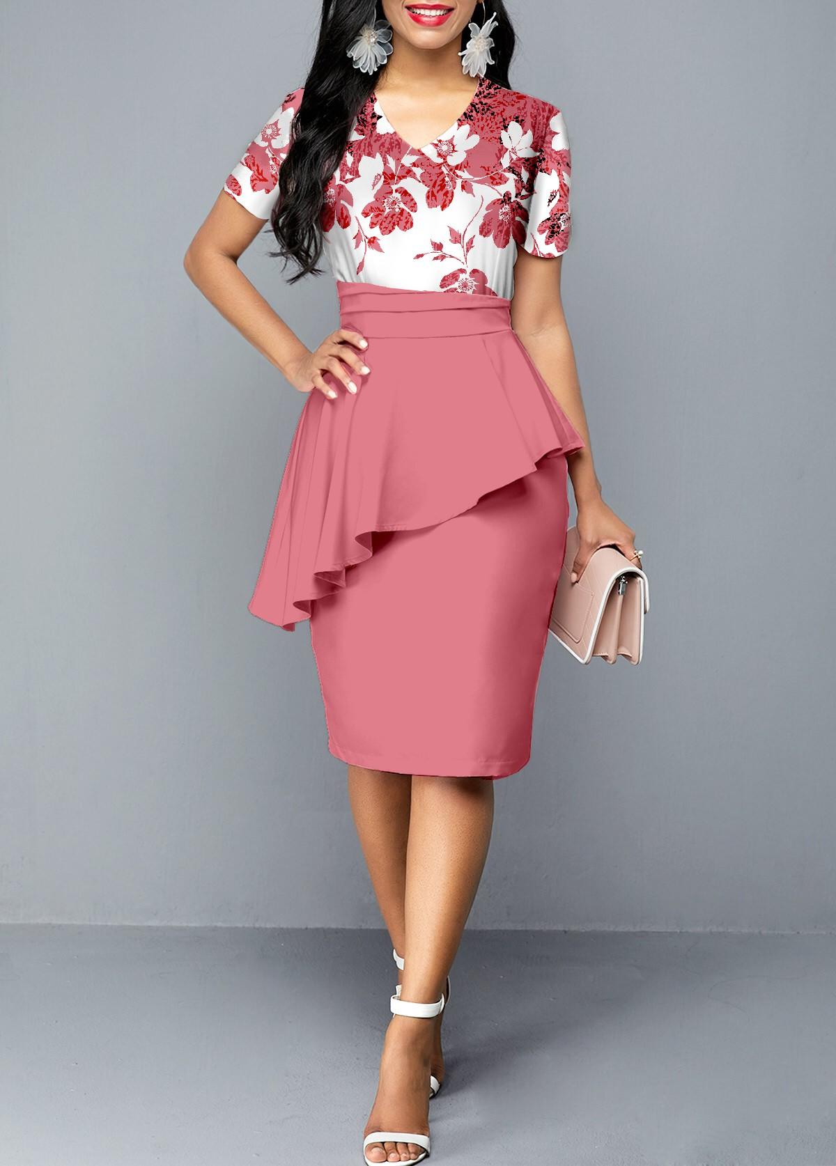 ROTITA V Neck Floral Print Short Sleeve Dress