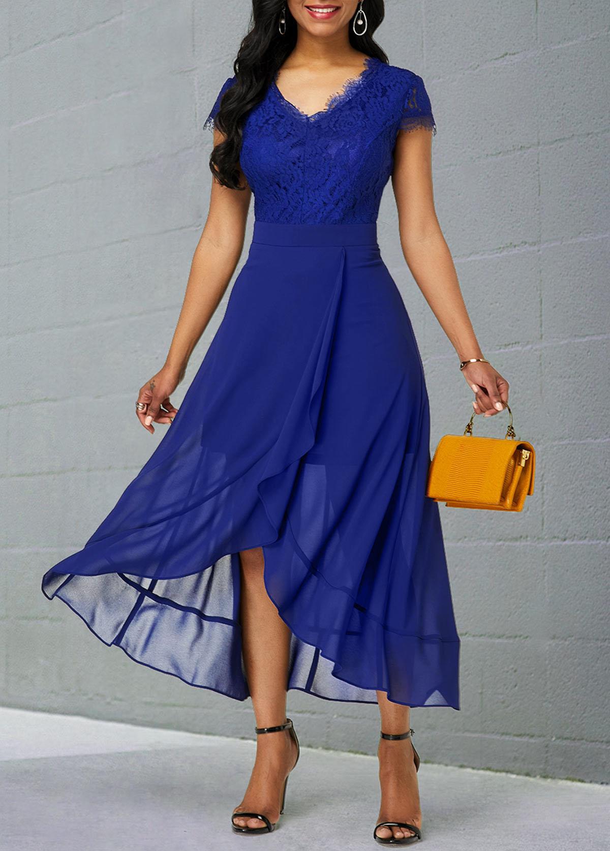 ROTITA Lace Patchwork Short Sleeve Chiffon Dress