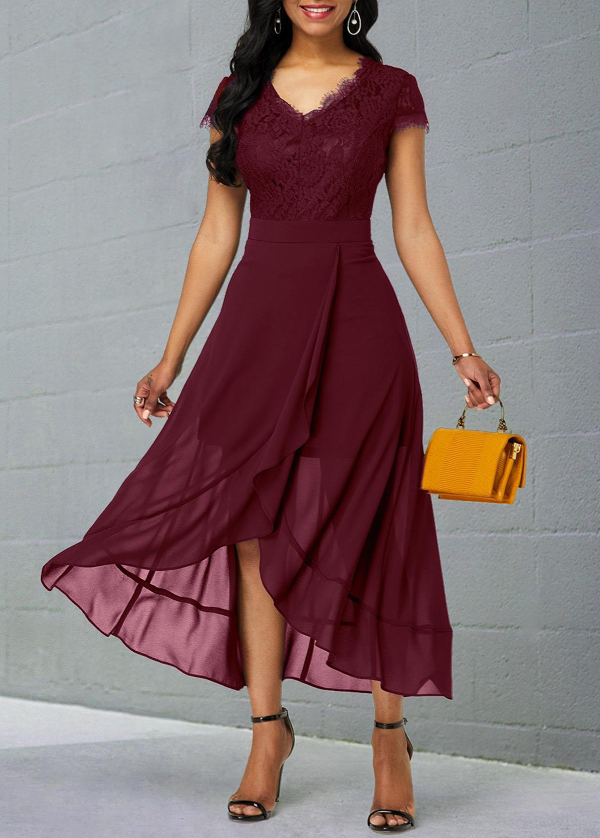 ROTITA Lace Patchwork Chiffon Short Sleeve Dress