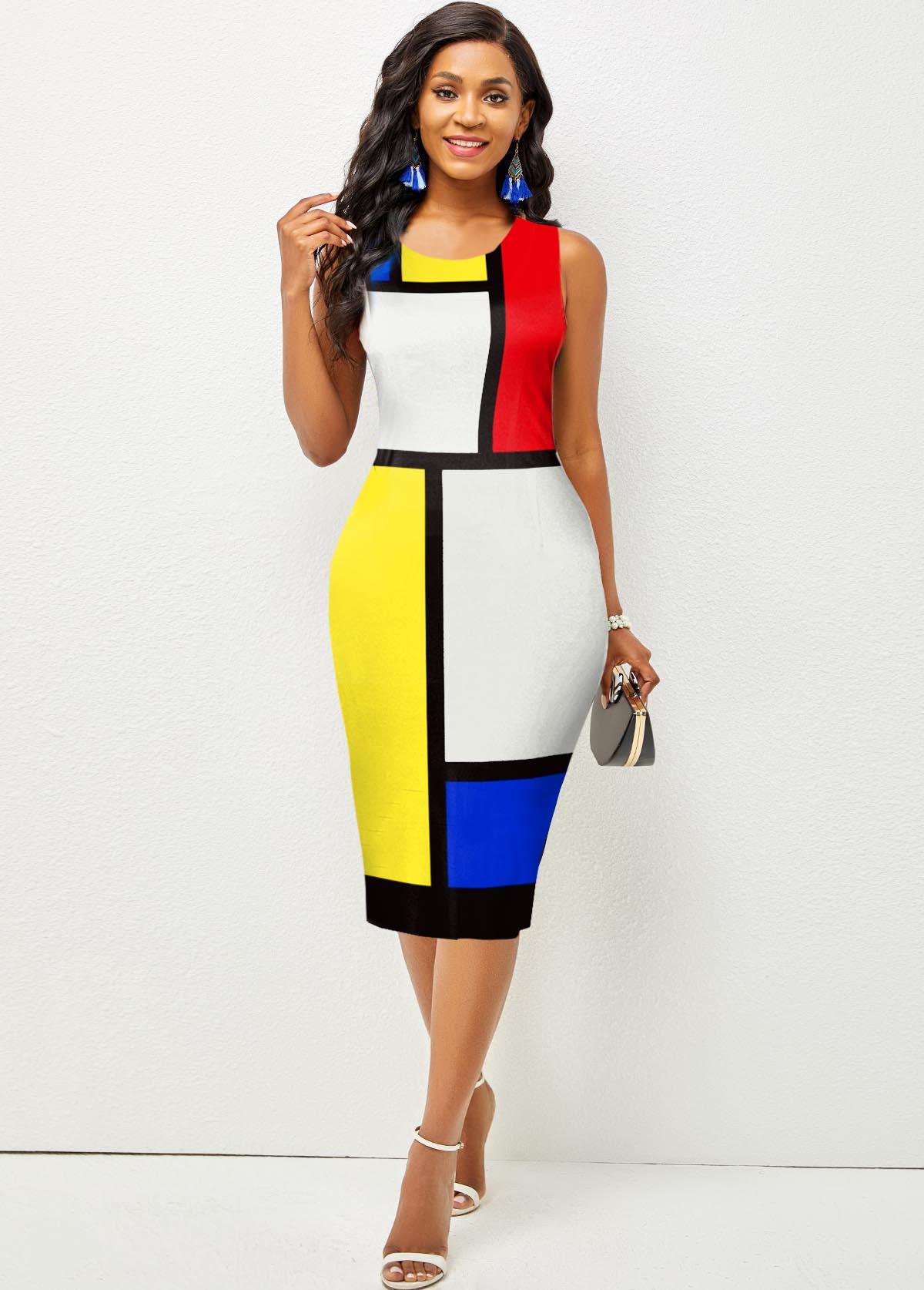 ROTITA Sleeveless Color Block Round Neck Dress
