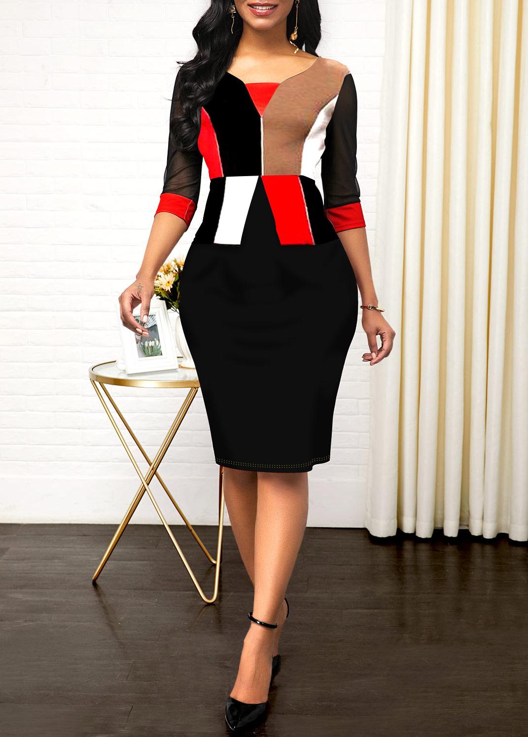 ROTITA 3/4 Sleeve Geometric Print Sheath Dress