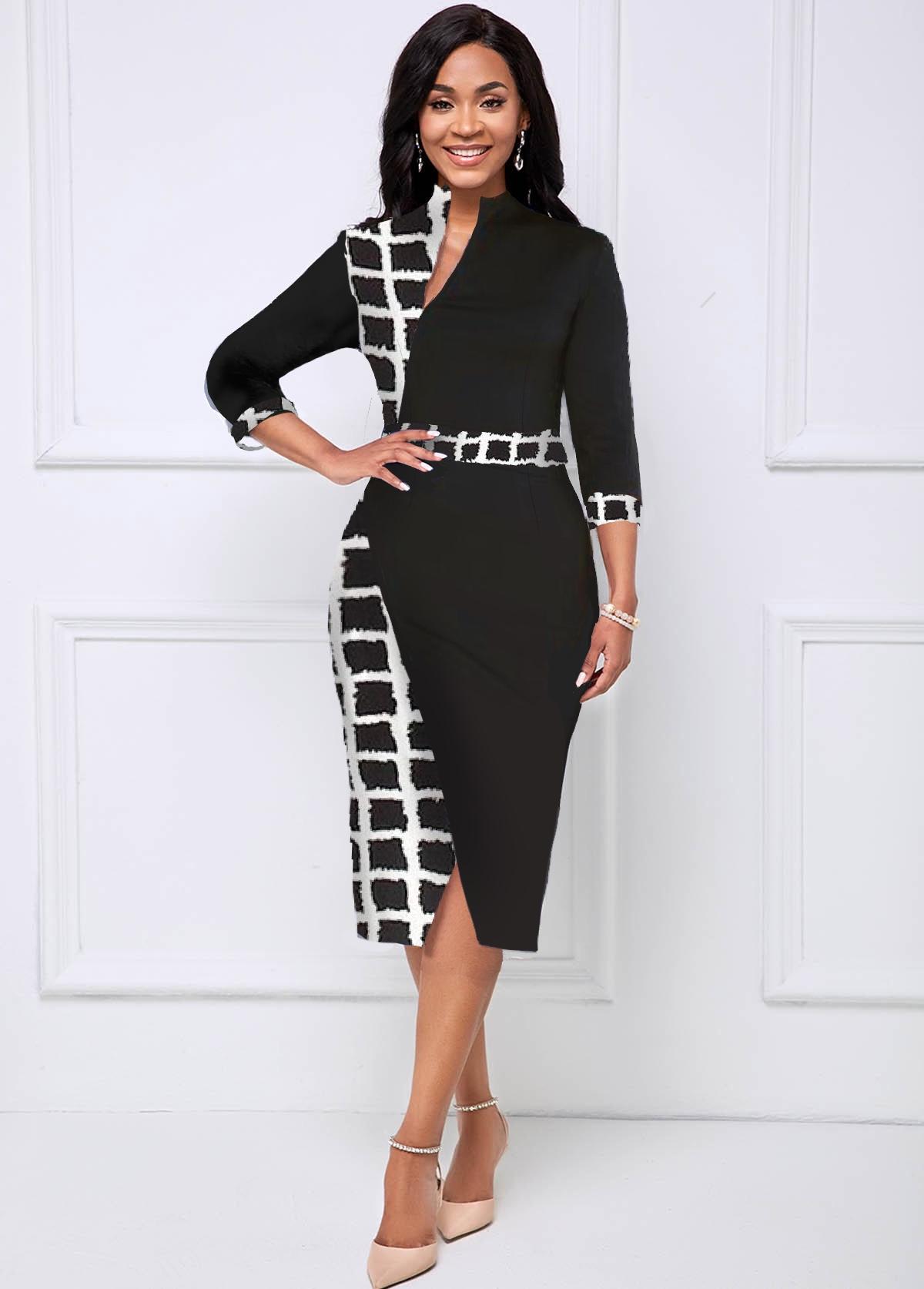 ROTITA 3/4 Sleeve Plaid Crossover Hem Dress