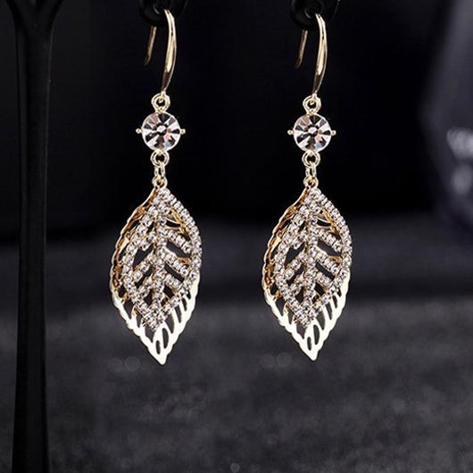 Leaf Design Rhinestone Detail Metal Earring Set