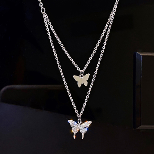Layered Butterfly Design Gold Metal Necklace