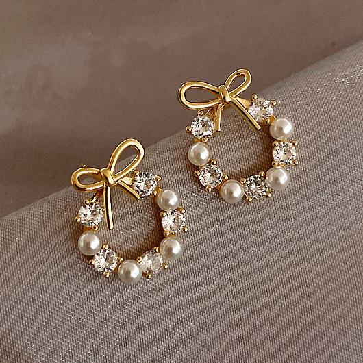 Pearl Bowknot Rhinestone Metal Detail Earrings