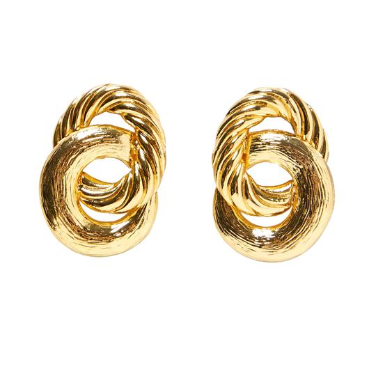 Gold Circular Shape Metal Detail Earrings