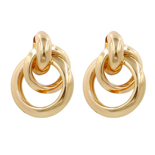 Circular Shape Gold Metal Detail Earrings