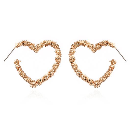 Heart Shape Gold Metal Detail Earrings