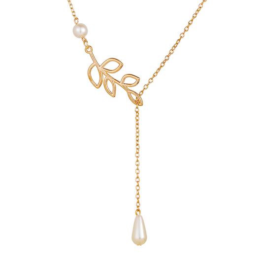 Pearl Detail Leaf Design Metal Necklace