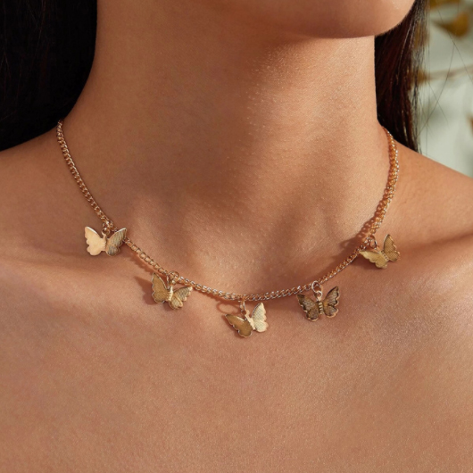 Gold Butterfly Pendant Metal Detail Necklace
