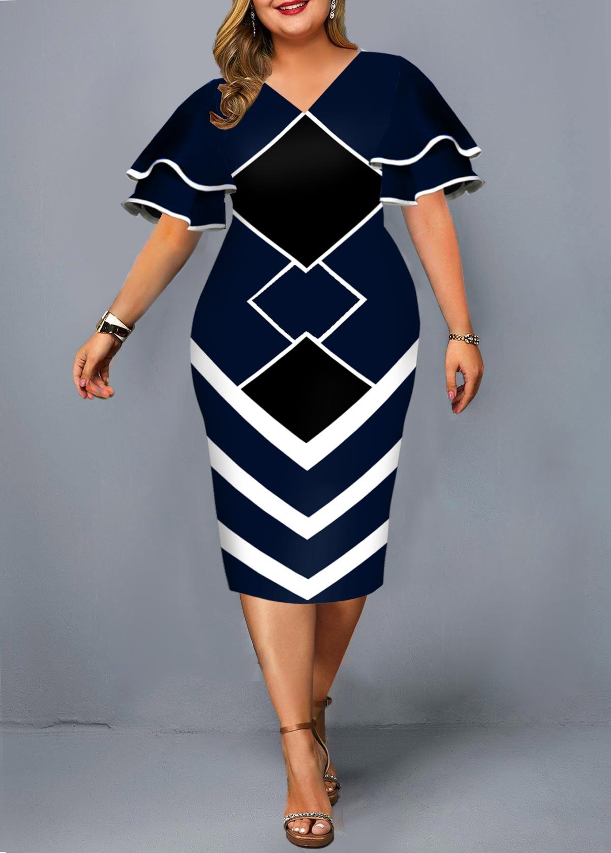 ROTITA Plus Size Geometric Print Short Sleeve Dress