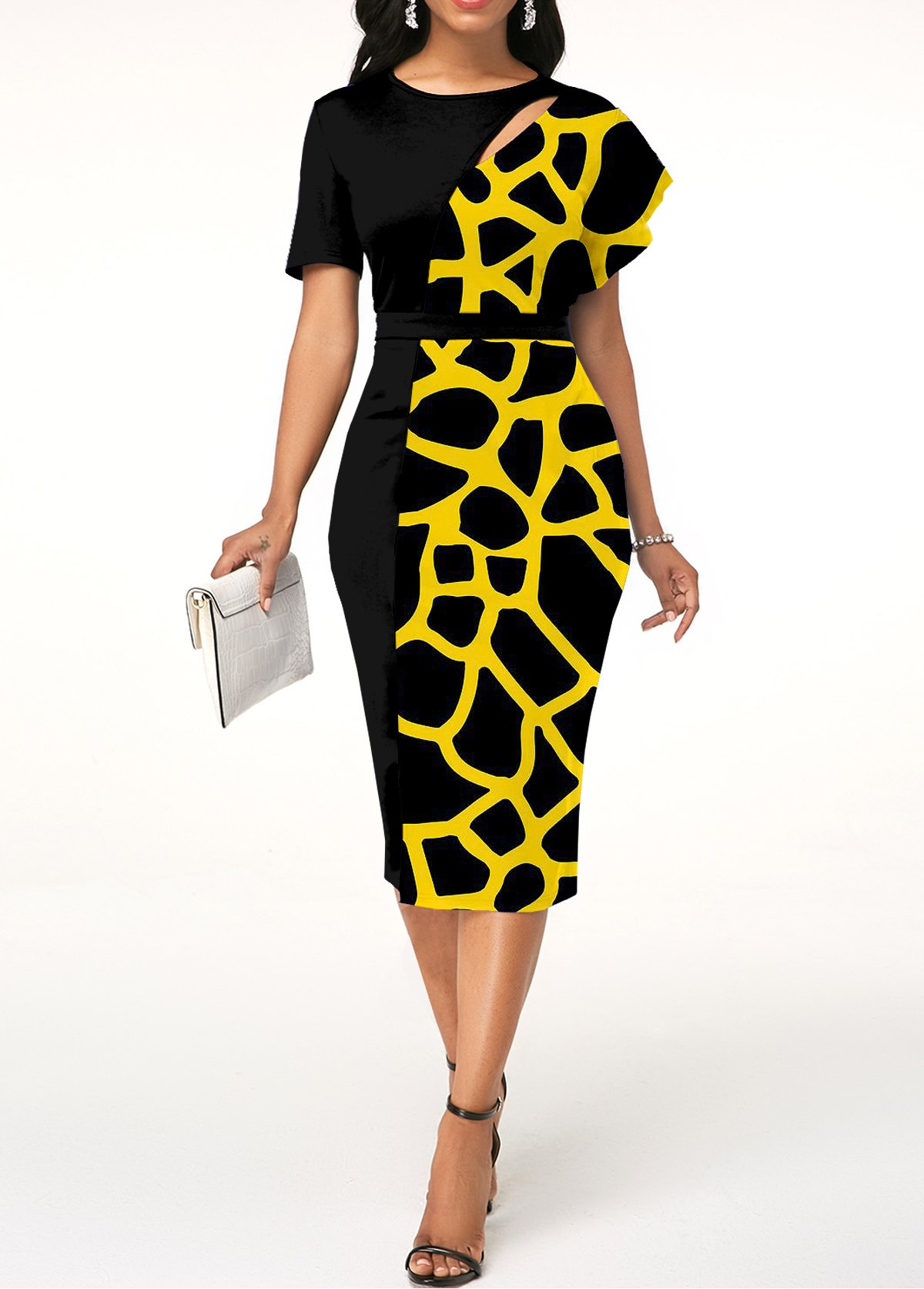 ROTITA Geometric Print Short Sleeve Bodycon Dress