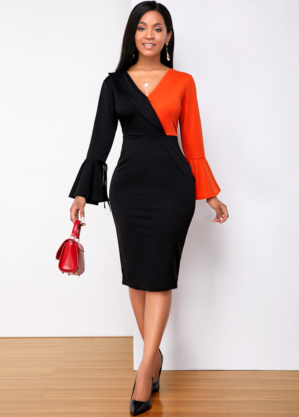 ROTITA V Neck Color Block Sheath Dress