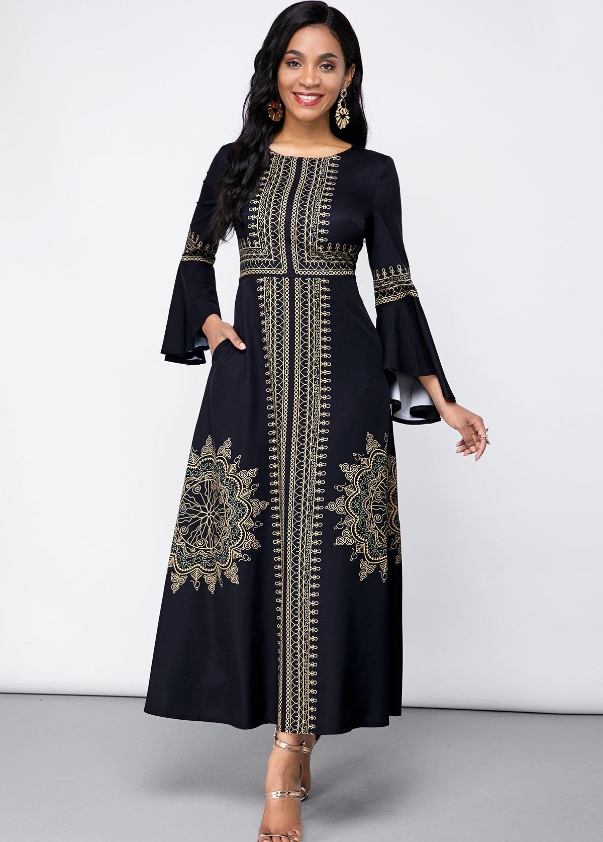 ROTITA Double Side Pockets Tribal Print Round Neck Dress