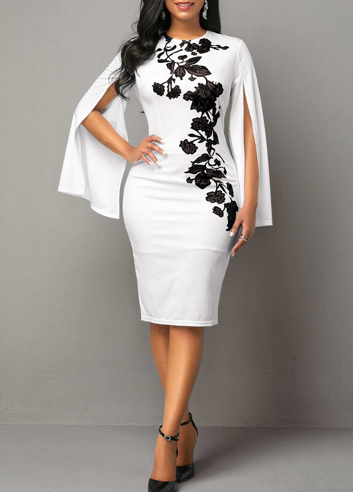 ROTITA Floral Print Cape Sleeve Round Neck Dress