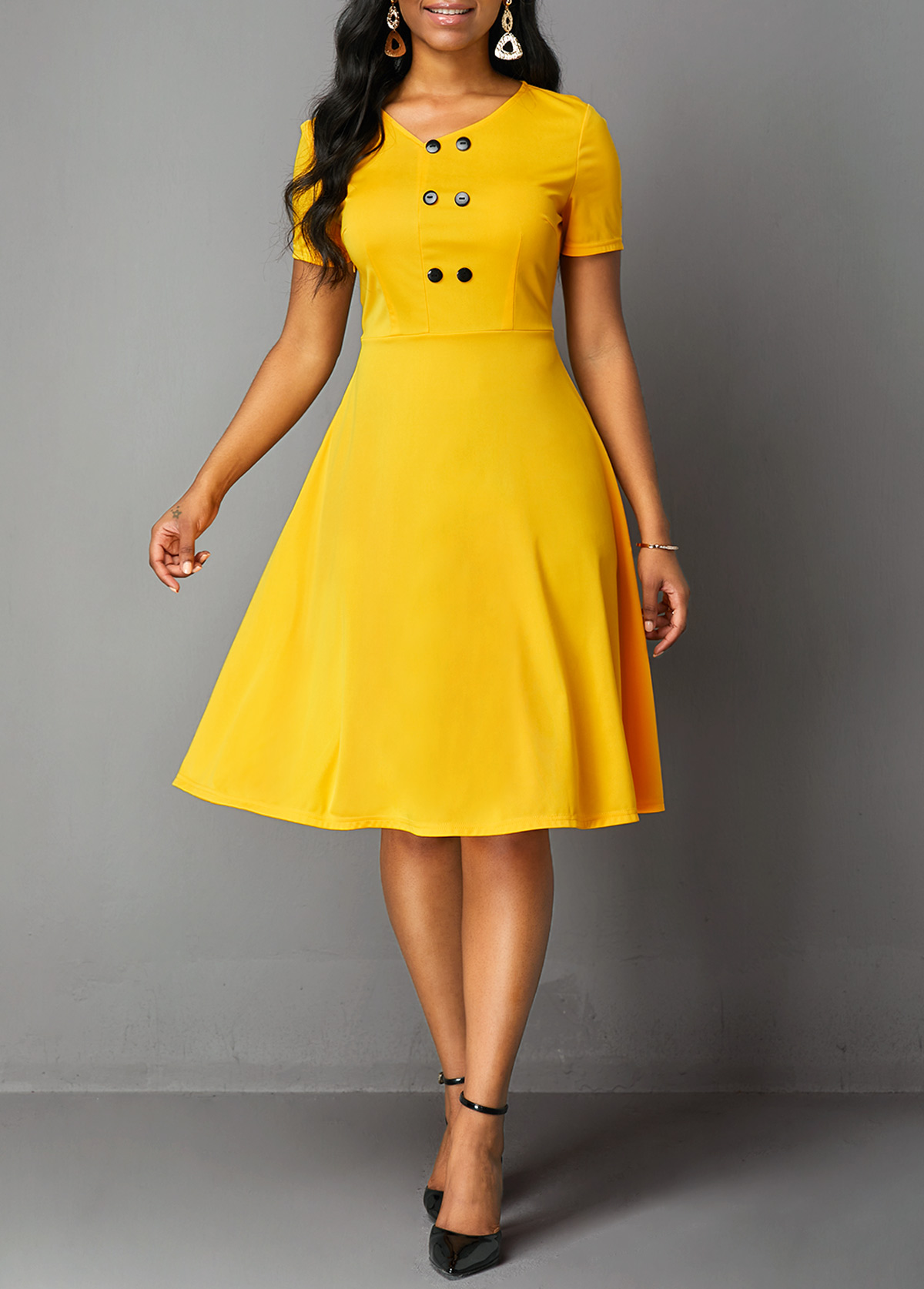 ROTITA V Neck Double Breasted Short Sleeve Dress