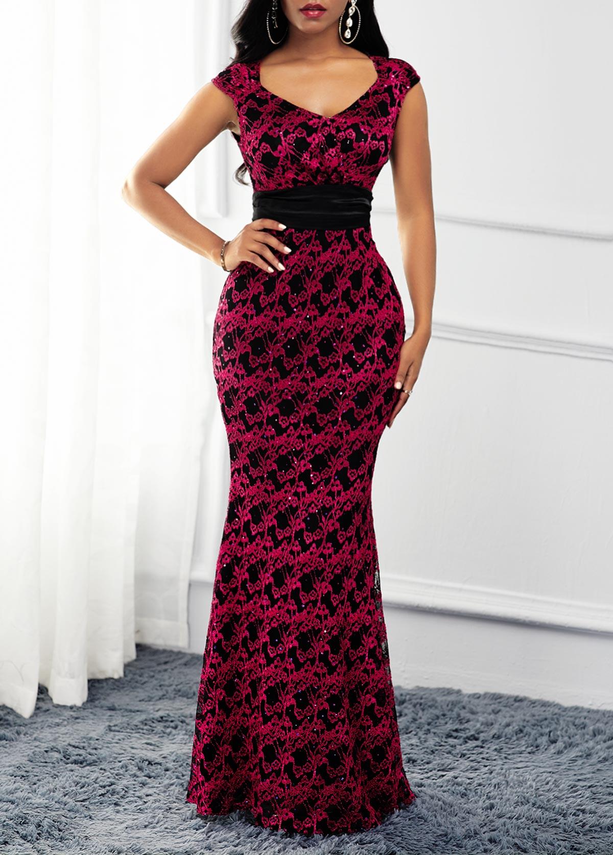 ROTITA Lace Patchwork Cap Sleeve V Neck Dress
