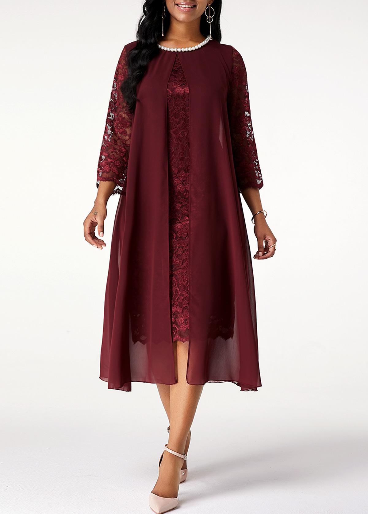 ROTITA Lace Stitching Chiffon Pearl 3/4 Sleeve Dress