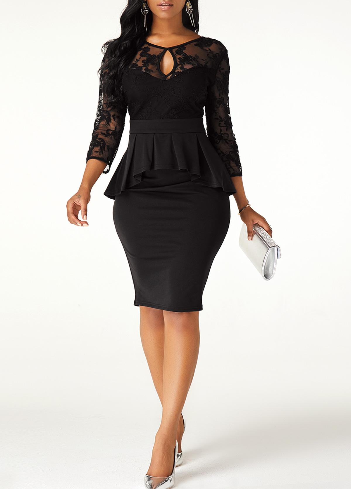 ROTITA V Back Lace Stitching Cutout Neck Dress