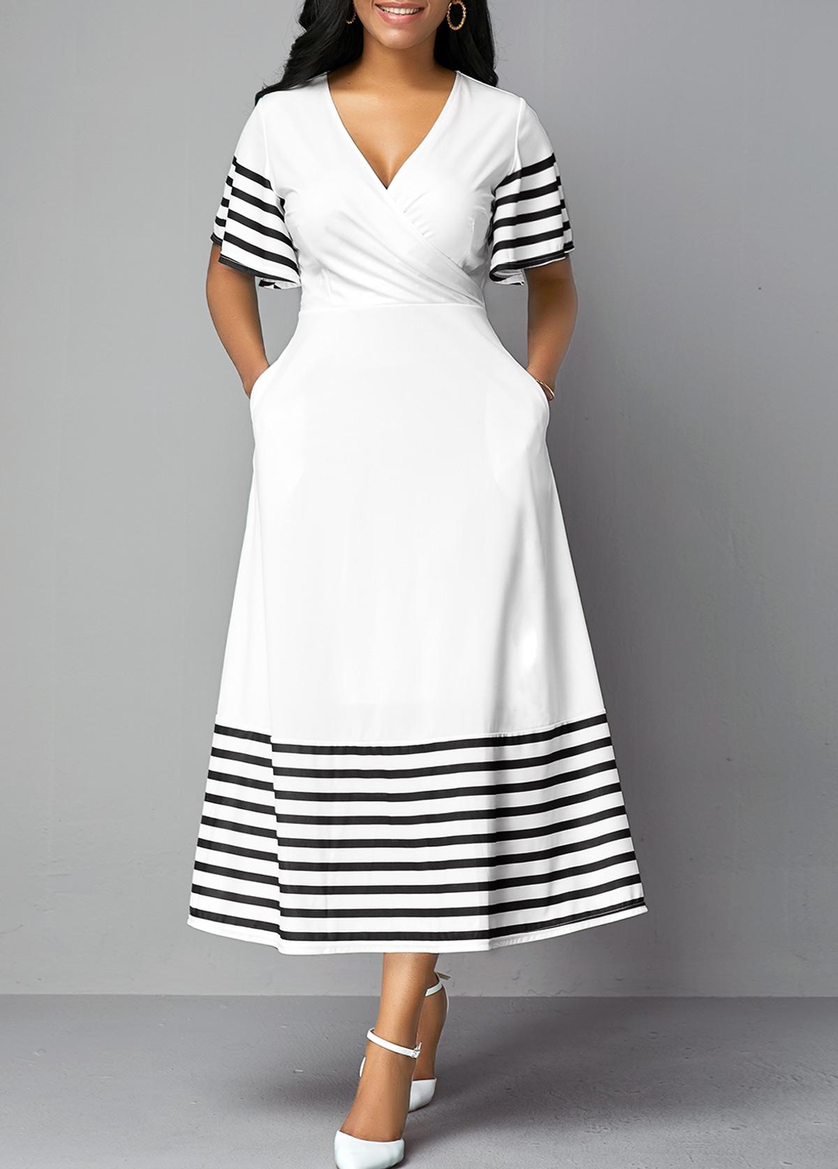 ROTITA Double Side Pockets Striped Short Sleeve Dress