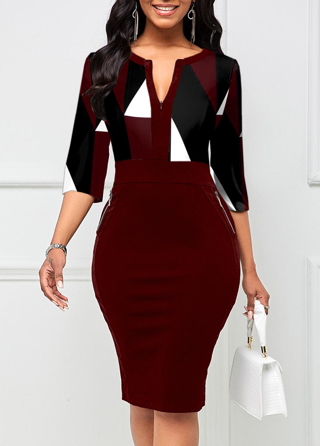 ROTITA Quarter Zip Geometric Print 3/4 Sleeve Bodycon Dress