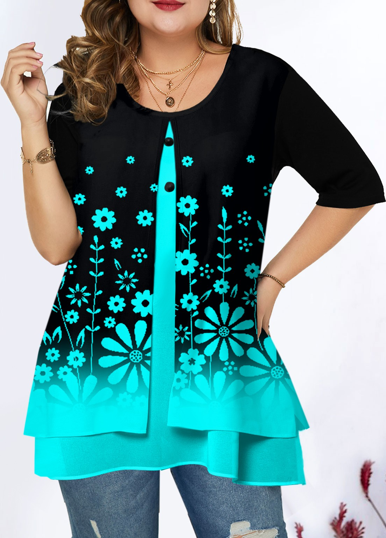 ROTITA Plus Size Floral Print Ombre T Shirt