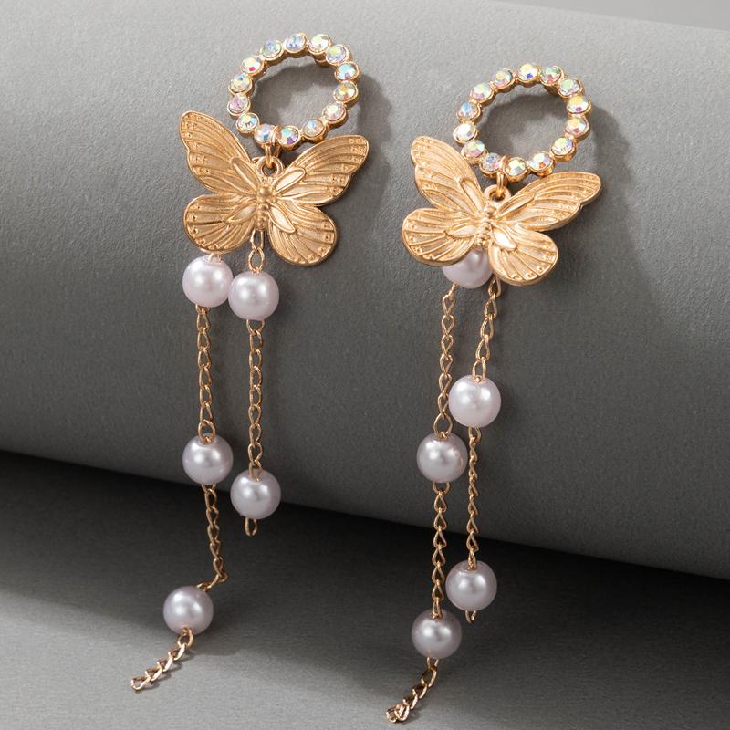 Pearl Detail Butterfly Design Gold Earring Set