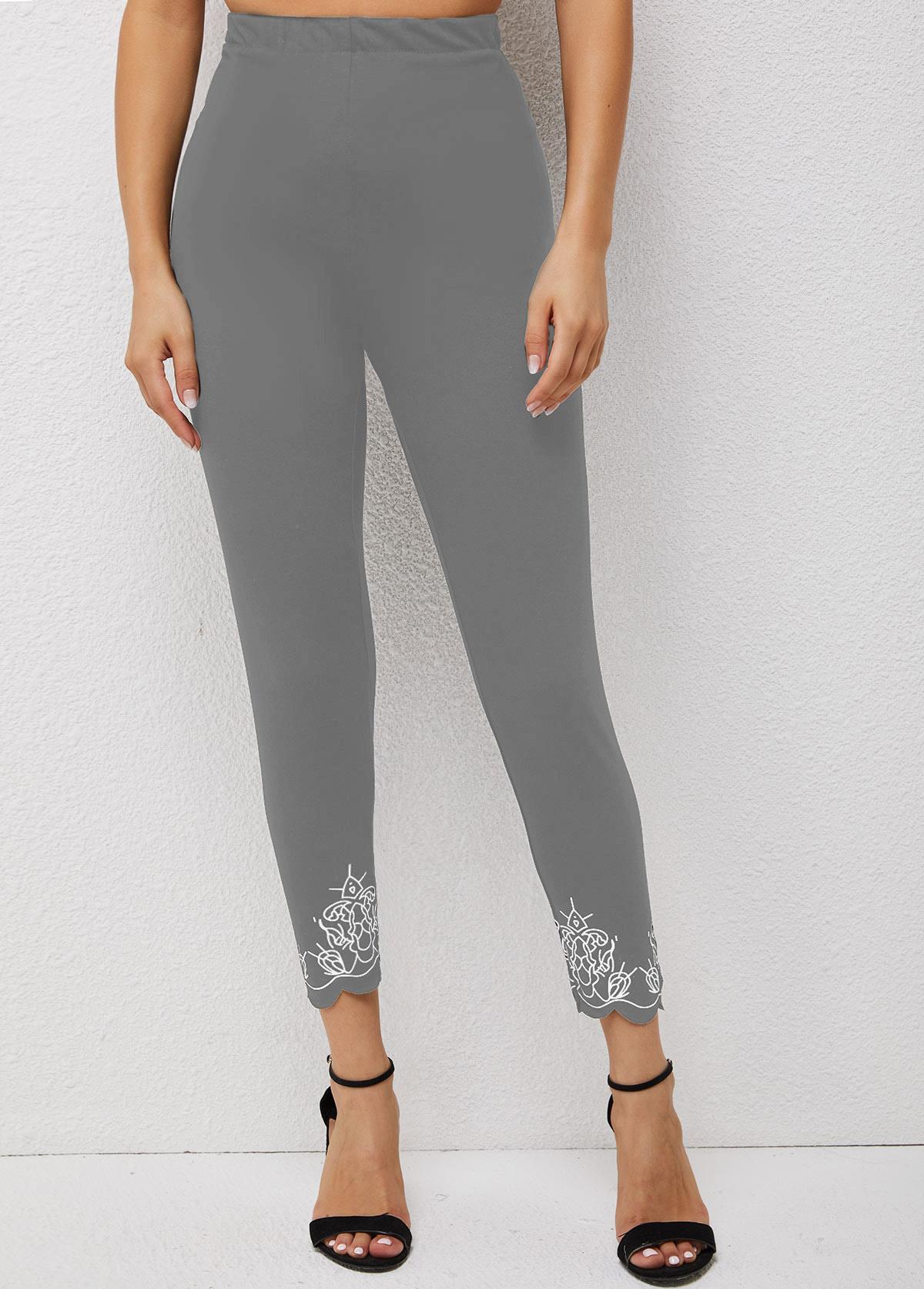 High Waisted Skinny Pierced Printed Pants