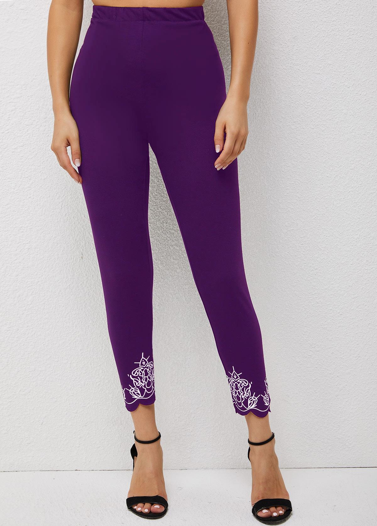 Printed High Waisted Pierced Skinny Pants