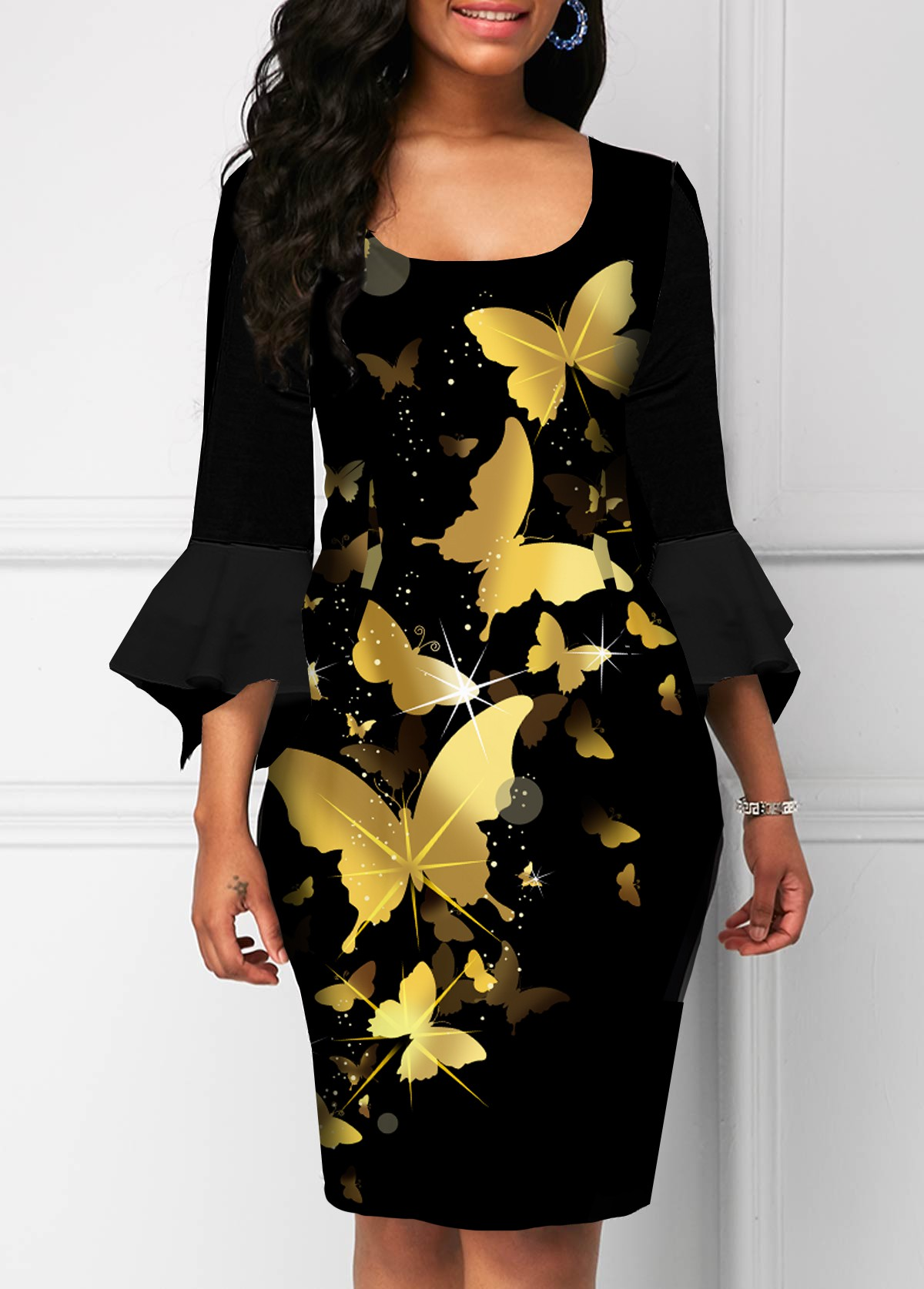 ROTITA Hanky Sleeve Butterfly Print Square Collar Dress