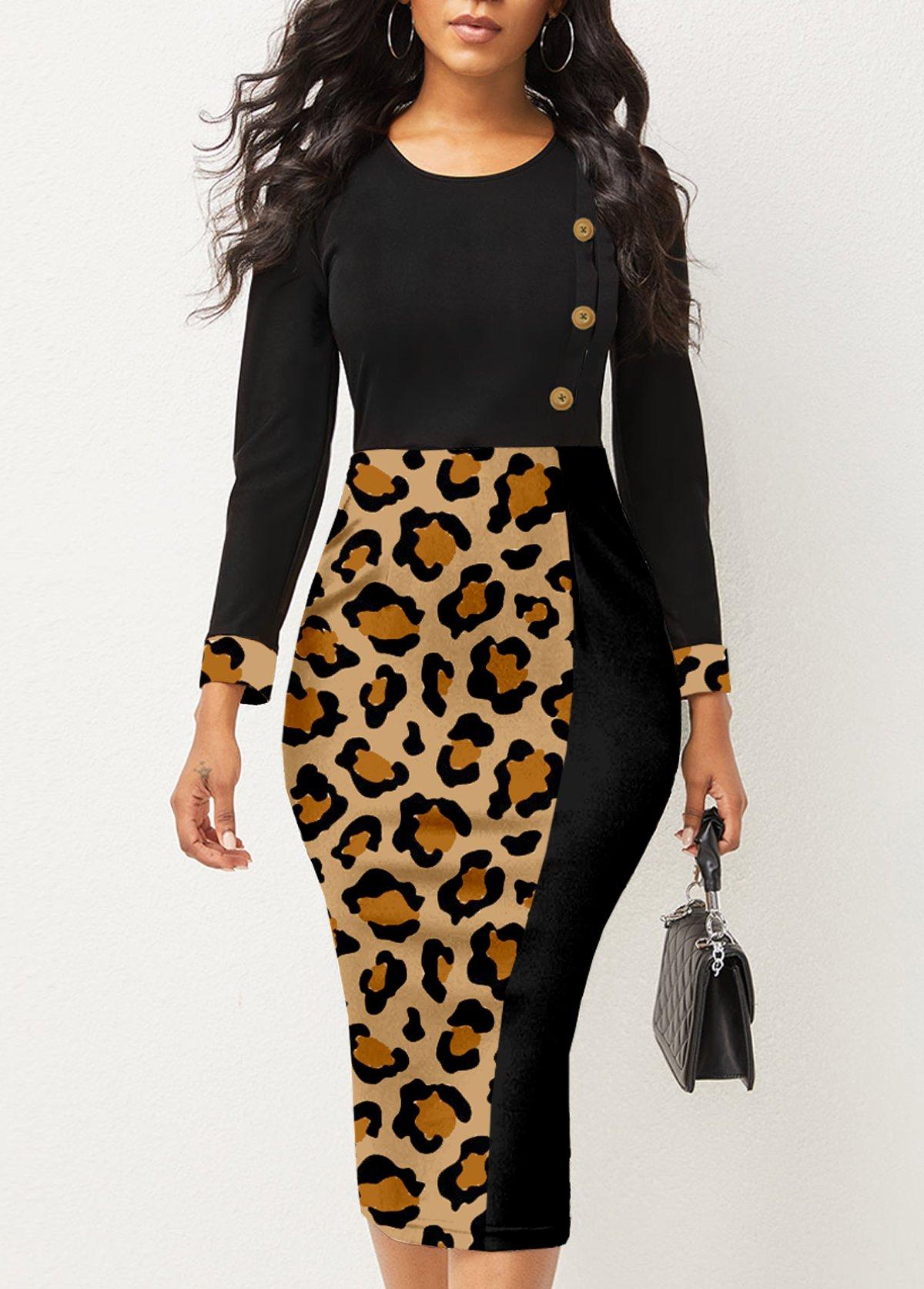 ROTITA Decorative Button Round Neck Leopard Dress