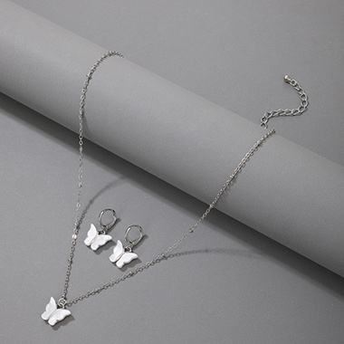 Silver Butterfly Design Metal Detail Necklace Set