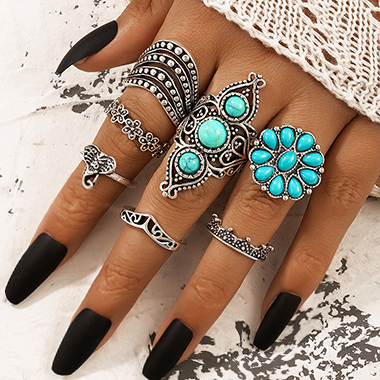 Silver Turquoise Detail Metal Design Rings