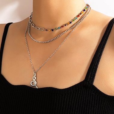 Layered Design Rainbow Color Beads Snake Detail Necklace