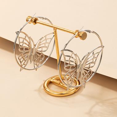 Metal Detail Silver Butterfly Design Earring Set
