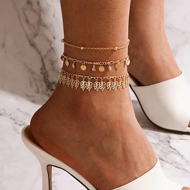 Metal Wafer Design Leaf Pendant Anklets