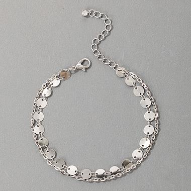 Metal Detail Wafer Design Silver Anklet