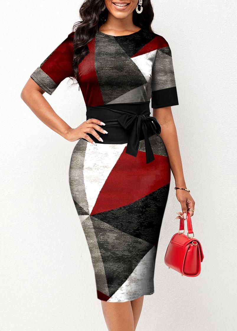 ROTITA Round Neck Geometric Print Belted Dress