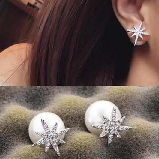 Rhinestone Detail Pearl Design Metal Earring Set
