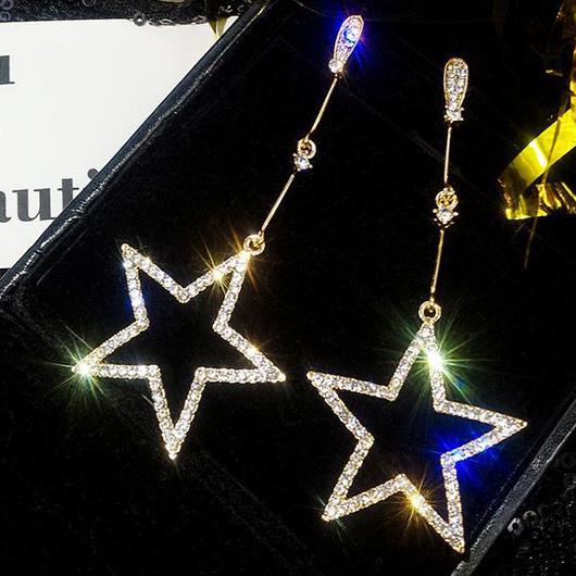 Rhinestone Detail Star Design Metal Earring Set