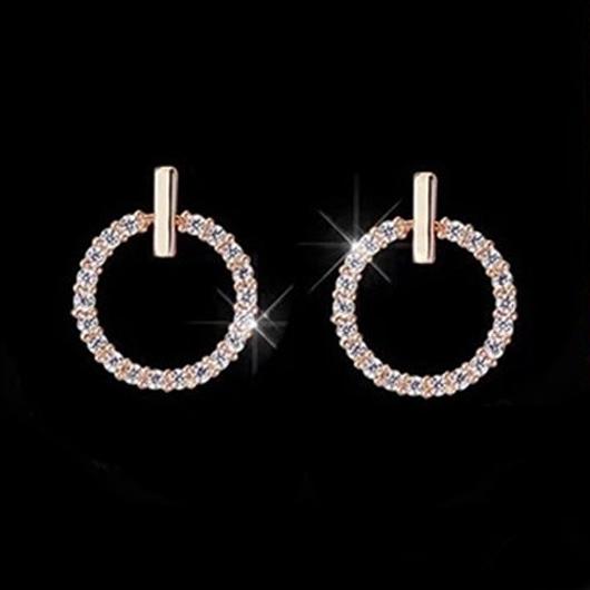 Rhinestone Detail Circle Design Earring Set