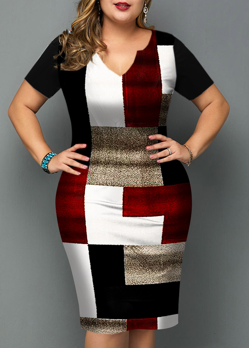 ROTITA Geometric Print Plus Size Short Sleeve Dress
