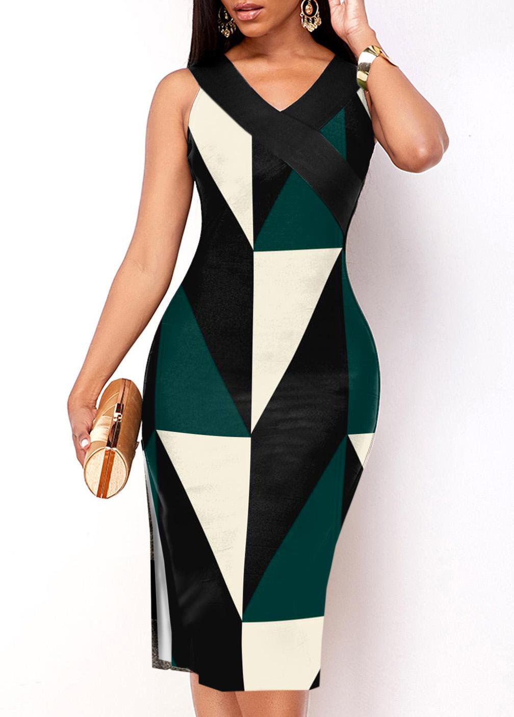 ROTITA V Neck Geometric Print Sleeveless Dress