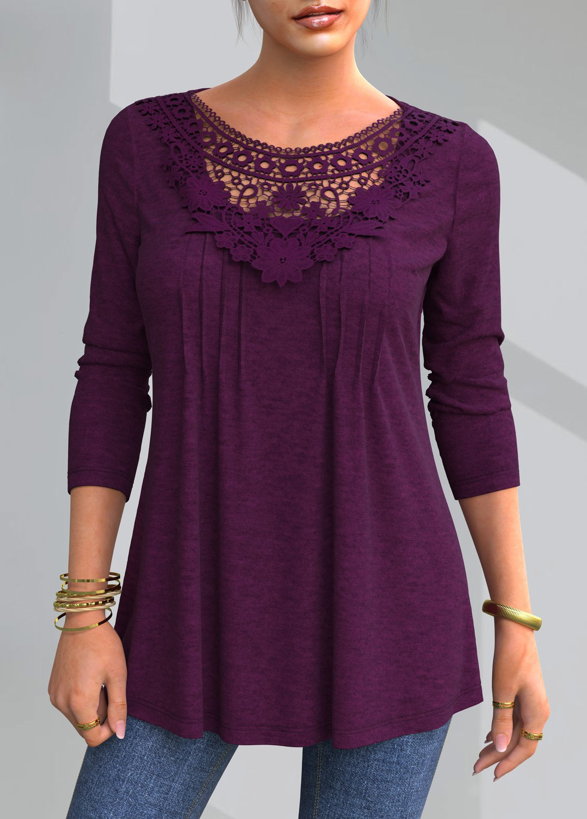 ROTITA Solid Lace Patchwork Round Neck T Shirt