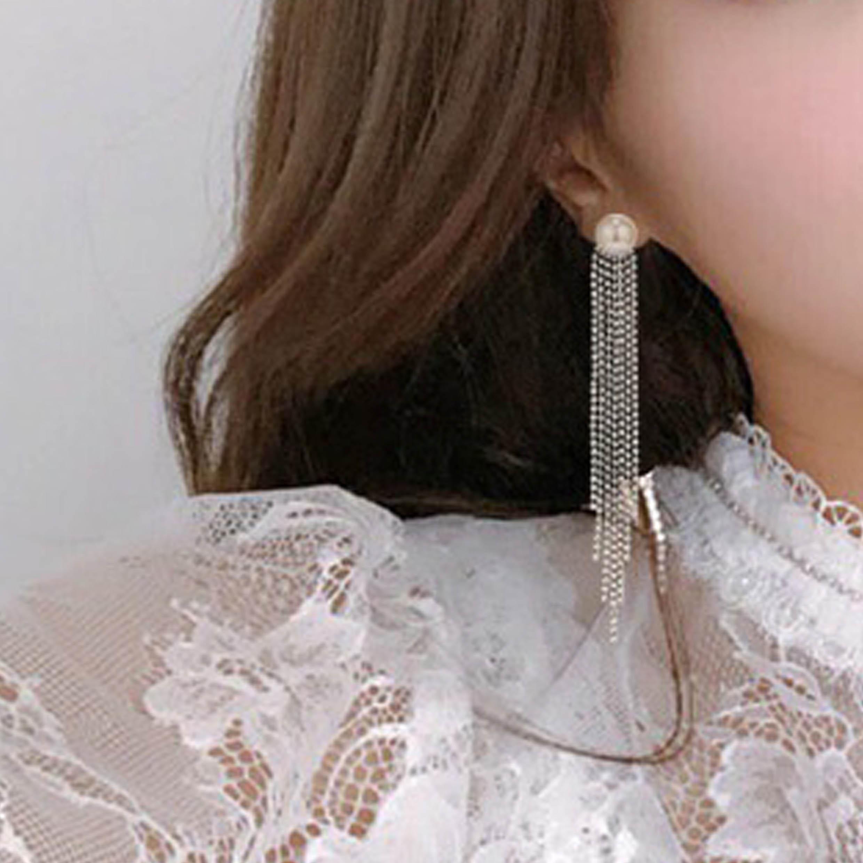 Rhinestone Pearl Tassel Silver Earring Set