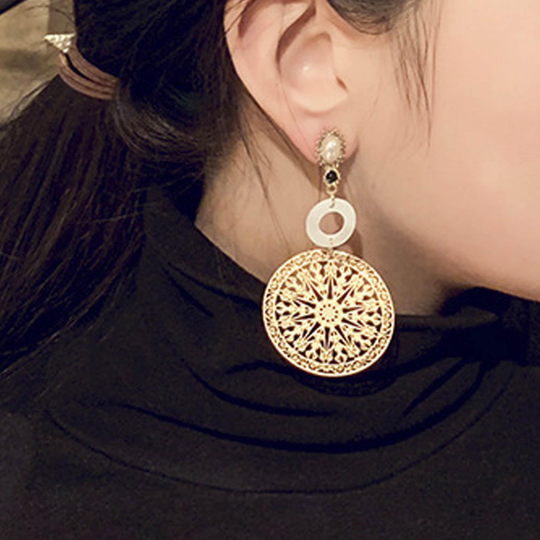 Pierced Baroque Metal Detail Pearl Earrings