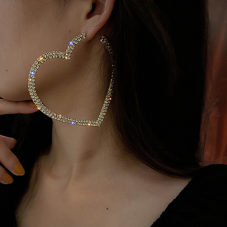 Rhinestone Heart Metal Detail Earring Set
