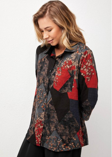 Blouses & Shirts Button Up Turndown Collar Printed Blouse