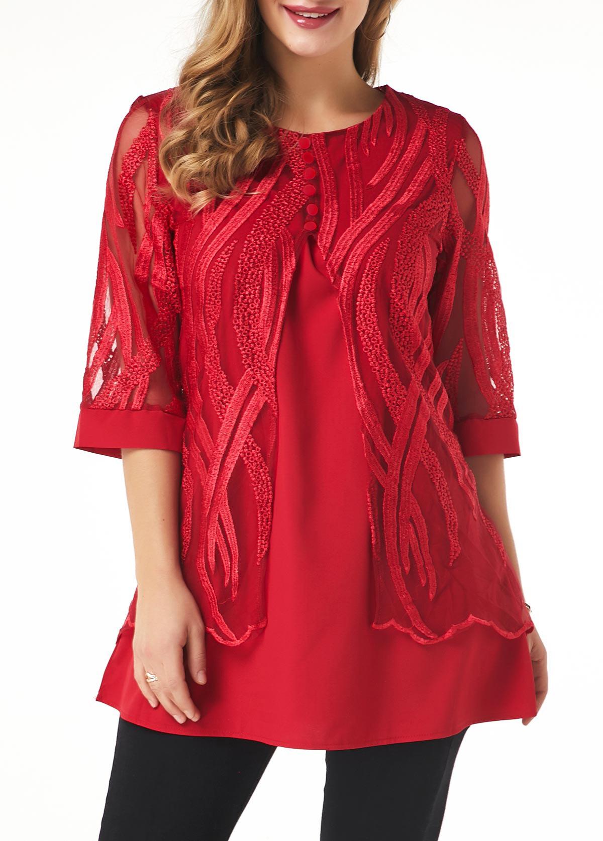 ROTITA Lace Panel Button Detail Layered Hem T Shirt