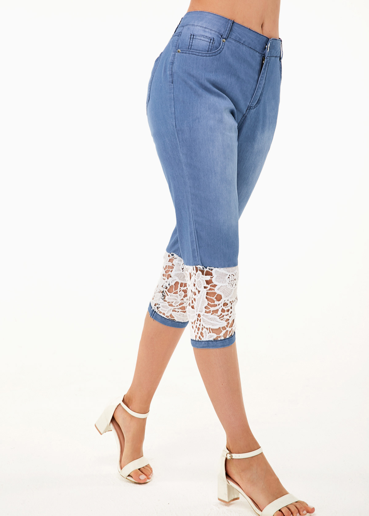 ROTITA Contrast Design Lace Panel Denim Blue Jeans